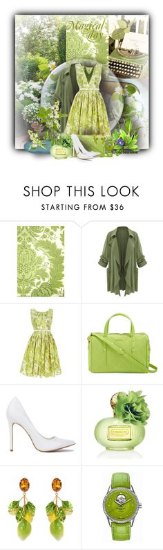 """""""::spring style: green floral dress::"""" by sinesnsingularities ❤ liked on Polyvore featuring Cole & Son, Antonio Marras, Vera Bradley, Coach, Dolce&Gabbana, Raymond Weil, Alexa Starr, SpringStyle and polyvorecommunity"""