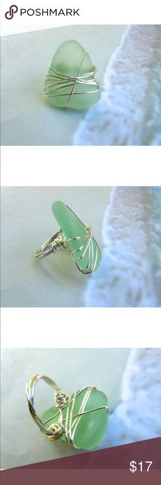 Sea Glass Ring - Handmade -Sea Foam Green - Size 8 HANDMADE SEA GLASS RING  Typically i find my sea glass in Puerto Rico but this gorgeous piece was handpicked by me in the Bahamas ! I love finding gorgeous sea glass and I have made Sea Glass an awesome and fun Hobby of mine! :)   Real Surf Tumbled Sea Glass softened by the sand, salt , and rocks found On the Beaches of the Bahamas  used with silver plated wire  Sea Glass Piece is 1.25 inch X 1.25 inch  Size 8  Light Sea Foam Green…