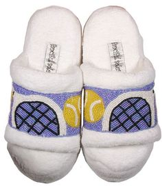 Tennis slippers - cute for post-match comfort.