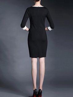 Simple Polyester Half Sleeve Paneled Midi Dress