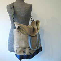 Repurposed Burlap Coffee Bean Bag Beach Bag, Messenger Bag, Tote, Carry-All. $98.00, via Etsy.