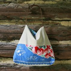 Handmade Repurposed Vintage Tablecloth and Linen Tote- Blue Cherry