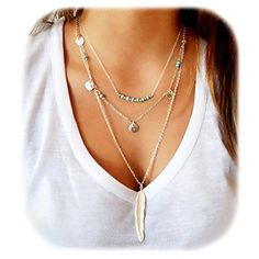 3bb0998f24b Wowanoo Simple Layered Bar Pendant Necklace Boho Feather Chain Necklace for Women  Jewelry Feather G. GiChast · Boho Necklaces