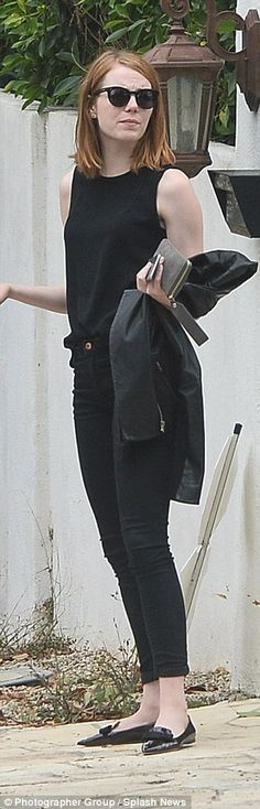 Simple style:For her outing, the star kept a low but stylish profile in an understated all-black ensemble featuring cropped at the ankle jeans with a high neck sleeveless and a black jacket, which she carried