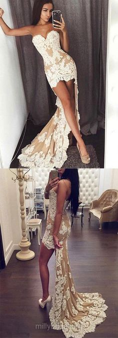 High Low Prom Dresses, Lace Prom Dresses, 2018 Prom Dresses For Teens, Sheath/Column Prom Dresses Sweetheart, Chiffon Prom Dresses Asymmetrical #highlow #promddress #lace