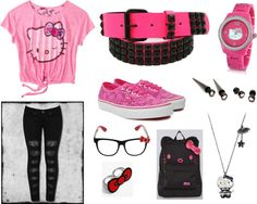 """""""Pink & Black Hello Kitty Back To School Outfit"""" by xximamonsterxx on Polyvore"""