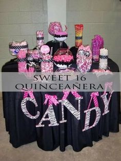 Candy Table Decoration Fun And Sweet Gender Reveal Party Ideas Shelterness. Pink Candy Table, Candy Buffet Tables, Pink Table, Dessert Buffet, Dessert Tables, Cake Table, Sweet 16 Birthday, 16th Birthday, Birthday Parties