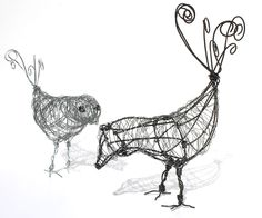 Chicka Birdy & Chicka Black Birdy. Wire Art by Two & Three Designers.