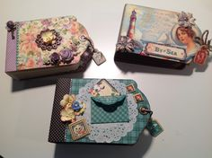 My three tag mini albums using Graphic 45 papers - Sweet Sentiment, By the Sea and Raining Cats and Dogs and Graphic 45 Tag Album