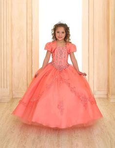 Girls Dress Style SY115 - Rhinestone Dress with Bolero and Corset Sides in Choice of Color  This beautiful gown is perfect for Communion, pageant or any special occasion. Take a look at the large pictures of this dress so that you can appreciate the fabric and exquisite rhinestone detailing on the bodice and throughout the skirt. The embroidery on the skirt is simply stunning.  http://www.flowergirldressforless.com/mm5/merchant.mvc?Screen=PROD&Product_Code=CA_SY115CO&Store_Code=Flo..