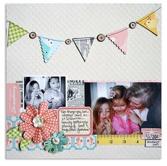 Combo fabric, buttons, paper flowers, rhinestones, tape, die cuts....... I can see it now!