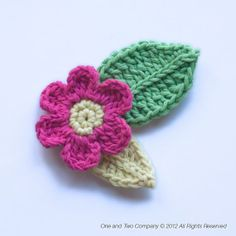 Flower and Leafs FREE Applique Crochet Pattern from @One and Two Company