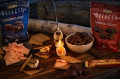 Take your s'mores to the next level with Delecto Canadian Classics Milk Caramels and Peanut Clusters, Pal-O-Mine, and Chicken Bones Chocolate Bark! Peanut Clusters, Candle Jars, Candles, Chicken Bones, Chocolate Bark, Caramels, Summertime, Milk, Treats