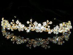 Gold Crystal Flower Tiara