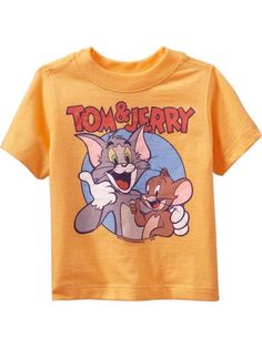 Official L Tom /& Jerry Yellow Kids Pocket T-shirt