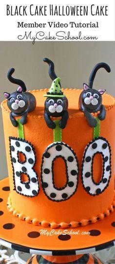 Adorable Black Cat Halloween Cake Video Tutorial by MyCakeSchool.com!