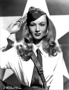 Veronica Lake in army uniform