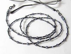Brillenketten - Brillenkette Glasperlen-Mix in schwarz-jeansblau - ein Designerstück von soschoen bei DaWanda