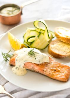 Creamy Dill Sauce for Salmon or Trout - A simple, refreshing sauce that pairs beautifully with rich salmon. Dinner on the table in 15 minutes! Dill Sauce For Salmon, Lemon Dill Sauce, Creamy Dill Sauce, Keto Salmon, Salmon With Cream Sauce, Lemon Dill Salmon, Baked Salmon, Lemon Lime, Dill Dip