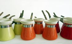 Orange red and yellow turkish/arabic coffee pots