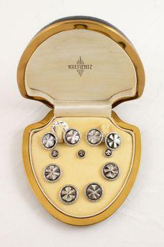 Krementz Tuxedo Dress Set Cuff Links and Studs Missing One Stud Original Box Abalone