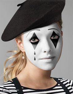 Halloween - Make-up Makeup and Co.- Halloween – Make-up Makeup and Co. Mime Halloween Costume, Celebrity Halloween Costumes, Halloween Makeup Looks, Halloween Make Up, Mime Artist Halloween, Farmer Halloween, Halloween Ideas, Mime Makeup, Costume Makeup