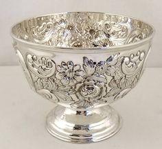 "Super embossed antique sterling silver bowl 4"" London 1901"