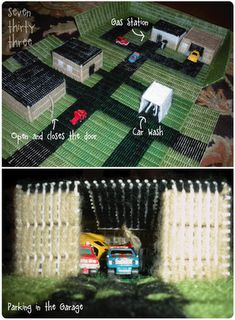 Plastic Canvas buildings for their matchbox cars ... site has lots of cute car play mat ideas!