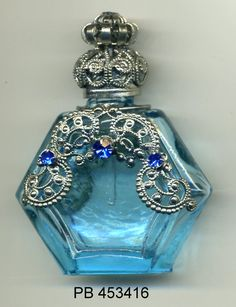 Perfume Vial, essential oil bottle, Perfume Bottle -  turquoise bottle with silver filigree and blue stones PB 453416 by…