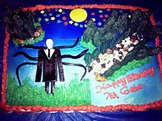 """A slender Man cake I made for my grandson's 7th birthday today."" This.. Is an awesome grandparent..."