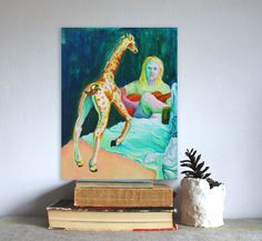 Acoustic Guitar&Giraffe on table bizzare portrait acrylic painting by LilyMokus on Etsy