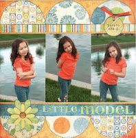 Scrapbook page idea. Modify by using top and bottom strips as left and right borders for two page spread.