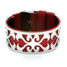 Red Leather Bracelet with Steel Heart Vine Cutout Plate West Coast Jewelry. $47.95