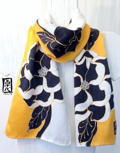 Hand Painted Silk Scarf, Yellow Silk Floral Scarf Black Peonies Geisha, Black Floral Scarf. Japanese Scarf. Silk Scarves Takuyo. 8x54 in.