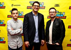 Rami Malek, Sam Esmail, and Christian Slater attend Coding on Camera: MR. ROBOT & Authenticity on TV during the 2016 SXSW Music, Film + Interactive Festival at the Austin Convention Center in Austin, Texas on March 13, 2016.