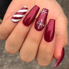 Chistmas Nails, Cute Christmas Nails, Xmas Nails, Christmas Nail Art Designs, Winter Nail Designs, Holiday Nails, Christmas Christmas, Christmas Acrylic Nails, Xmas Nail Art