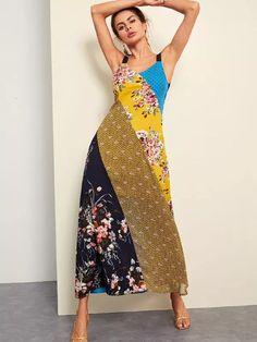 51cc1714d310 Cut and Sew Floral Print Long Dress -SheIn(Sheinside) Enkle Kjoler