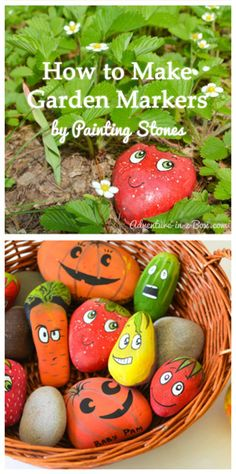 Make Garden Markers by Painting Stones These friendly markers can be used year after year if the paint is sealed with an acrylic spray. Great for educating visitors to your garden about what sprouting plants look like before they mature. Beach Rocks, Beach Stones, Rock Art, Watermelon, Fruit, Vegetables, Stone Art, Drawings, Sketches