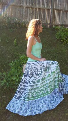 Glorious Hippie Bohemian Maxi Long Skirt Cotton Fabric Boho Wrap Block Print Mandala Cool In Summer And Warm In Winter Women's Clothing