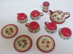 Vintage Wolverine toys tin kitchen set, red strawberries, canister, teapot, cups