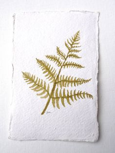 Fern original watercolor painting 4 x 6 soft by DreamofaDream