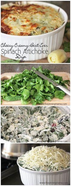 Best Ever Hot Spinach Artichoke Dip Recipe   www.thepinningmama.com   #recipe #spinach #appetizer