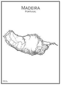 Madeira. Portugal. Map. City print. Print. Affisch. Tavla. Tryck. Stadskarta.