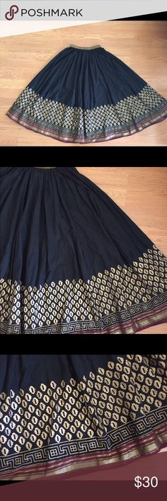 Soft Surroundings Beautiful Skirt This is such a beautiful skirt made in India. Black with a burgundy and gold design on hem and waistband (elastic.) Size small. 96% cotton, 2% metallic, 2% poly. Lovely condition. Skirts Maxi