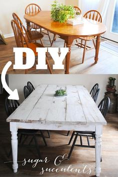 Farmhouse Table Part Two: Getting the chippy look- sugar & succulents