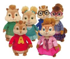 TY Beanie Babies - #Alvin & the #Chipmunks ( Complete Set of 6 ) Ty  Official Ty product with the authentic Ty heart-shaped tag! Extra huggable Part of the Ty Beanie Babies collection Handmade with the finest quality standards Ty from our heart to yours Machine Washable Complete Set of 6 !! Only at $38.72