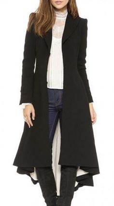 Love Love Love LOVE this coat SO MUCH! Black Swallow Tailed Long Sleeve Tweed Winter Trench Coat #Chic #Stylish #Longline #Black #Swallow #Tail #Winter #Coat #Fashion