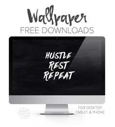 Hustle Rest Repeat: Free printable with rose gold glitter text OR white text