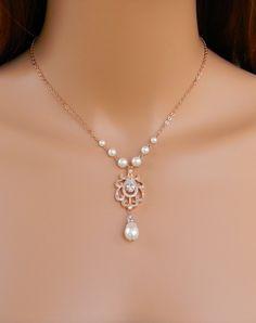 Backdrop Bridal Necklace, Rosegold Wedding Necklace, Bridal Earrings, Bridal…