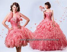 Anmutiges Abendkleid Ballkleid Brautkleid in Lachs